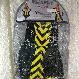 Playboy Deluxe Queen Bee Costume, Black/Yellow, XS